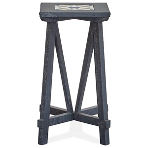 Rustic Square End Table with Tile Insert