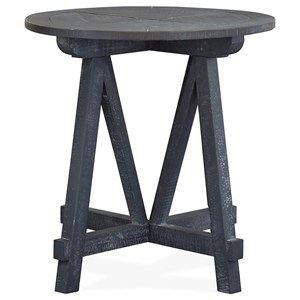 Rustic Round Accent Table with Distressed Finish