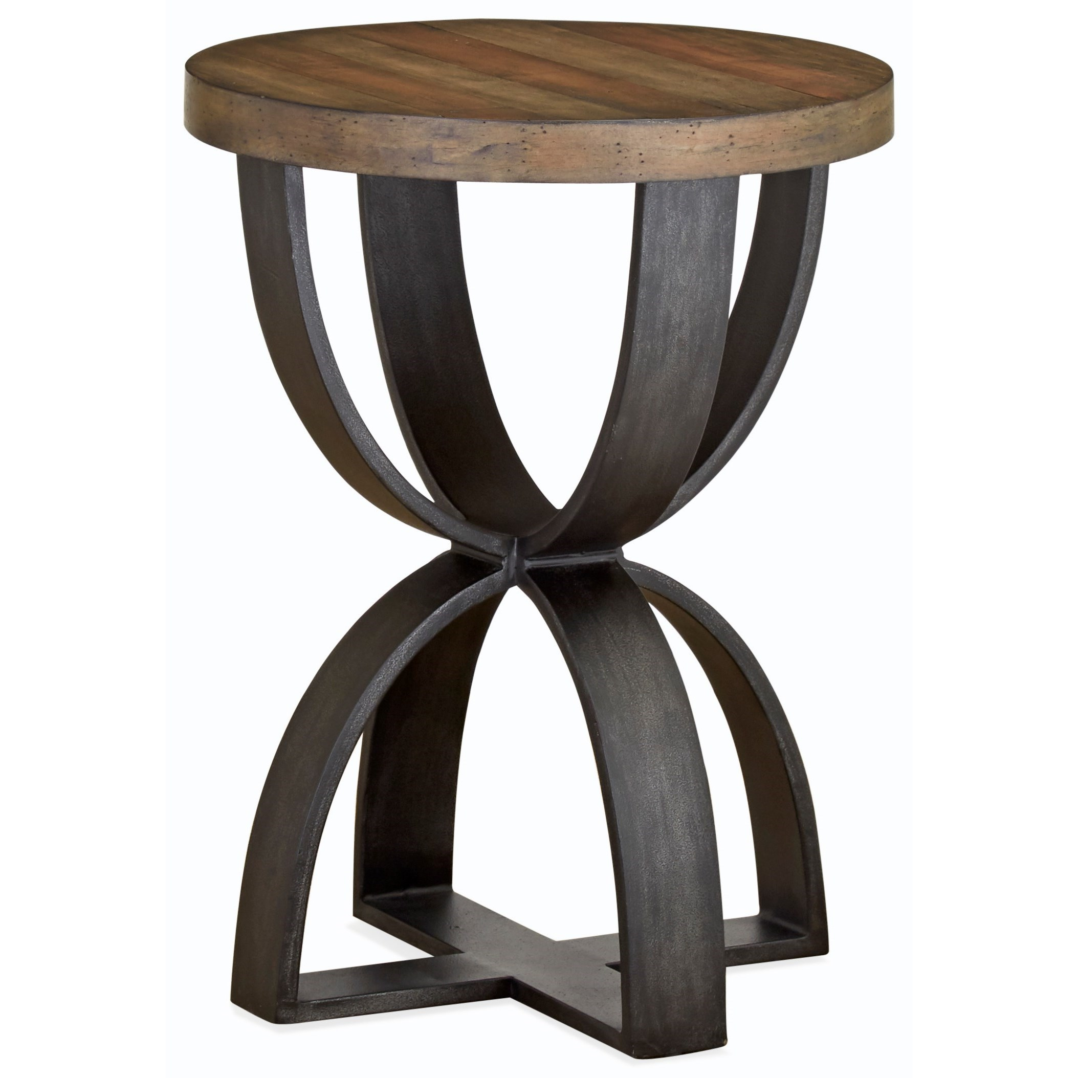 Rustic Round Accent Table of Solid Wood