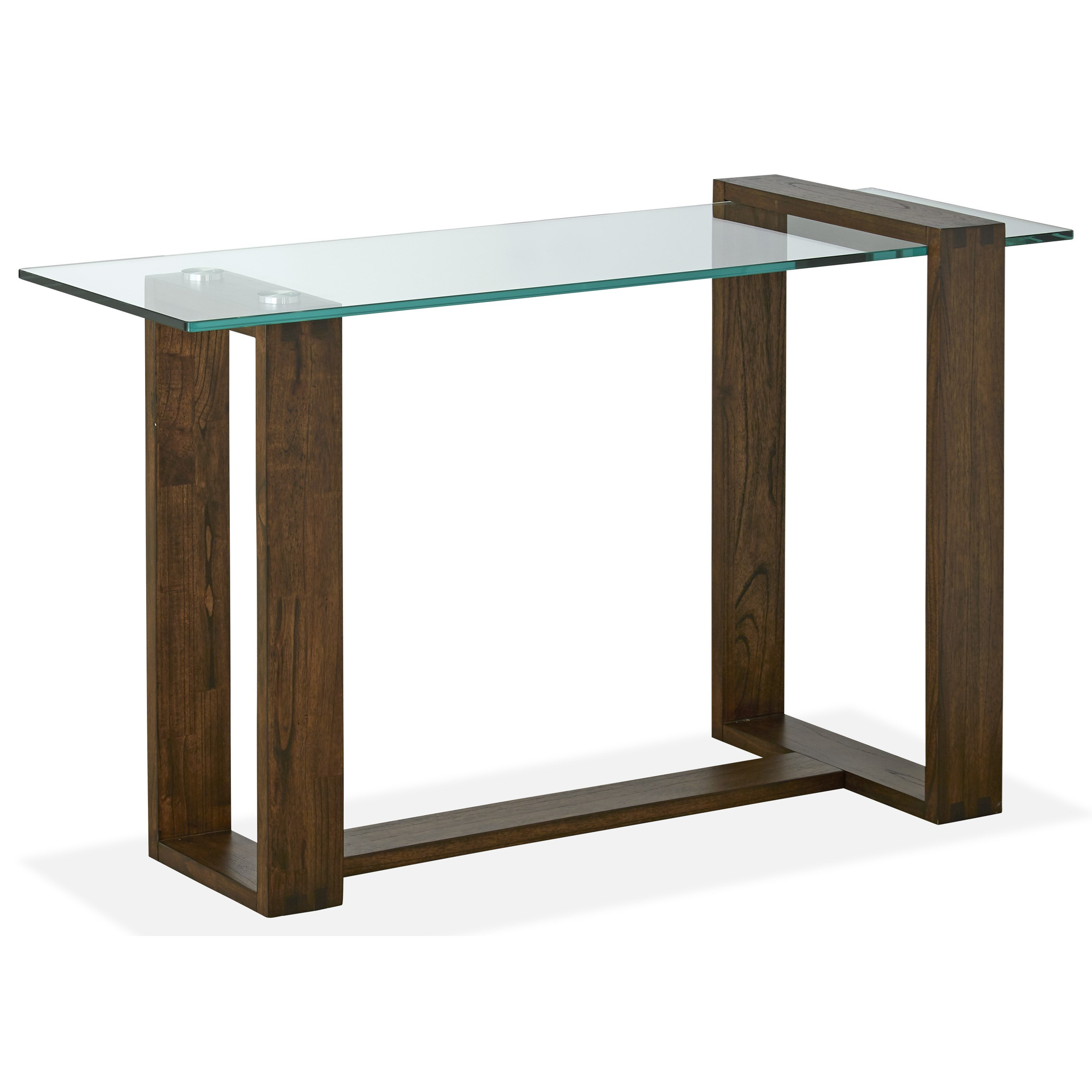 Contemporary Rectangular Sofa Table with Glass Top