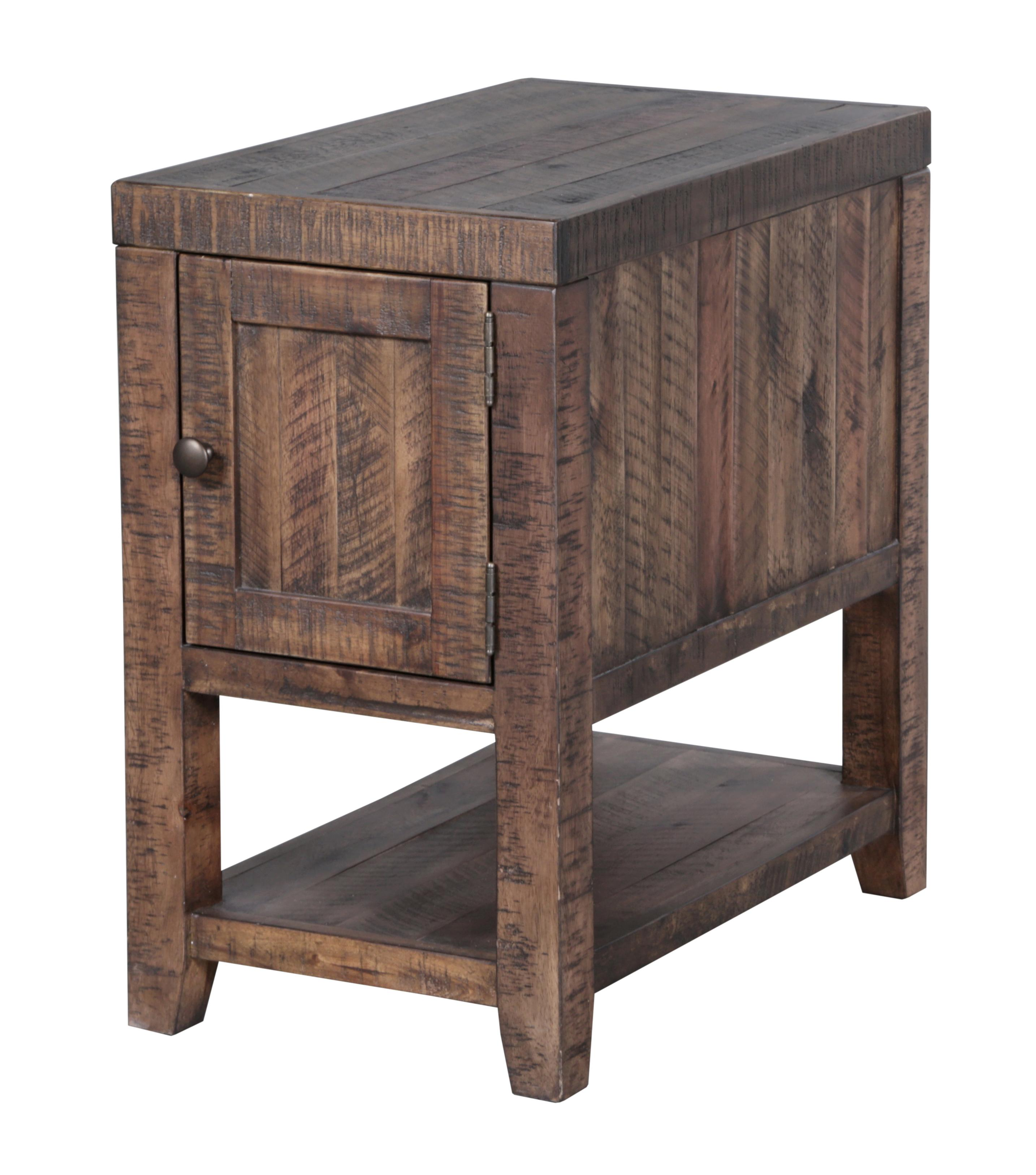 Rustic Rectangular Chairside Table with One Door and One Shelf