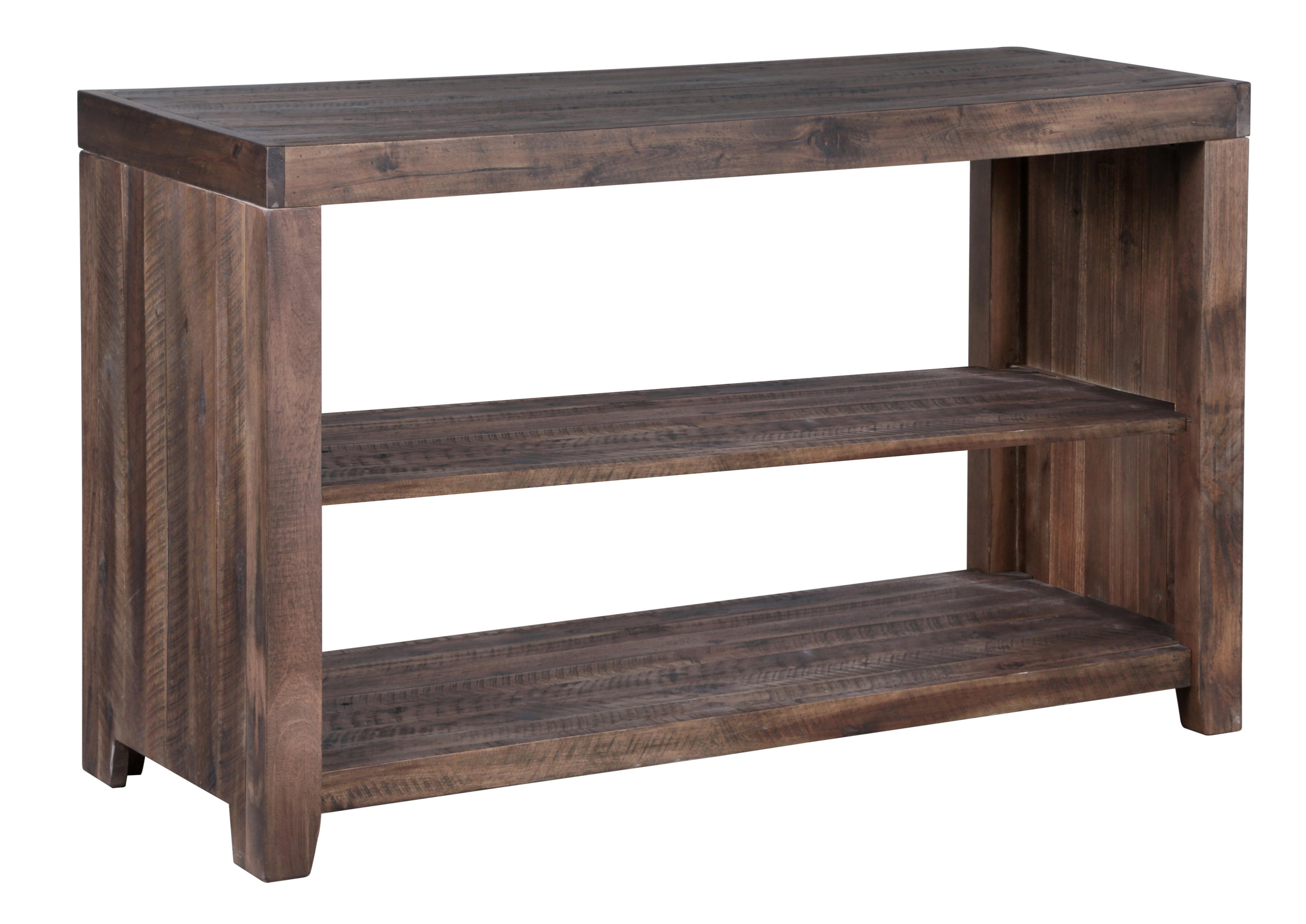 rustic rectangular sofa table with two shelves by magnussen home