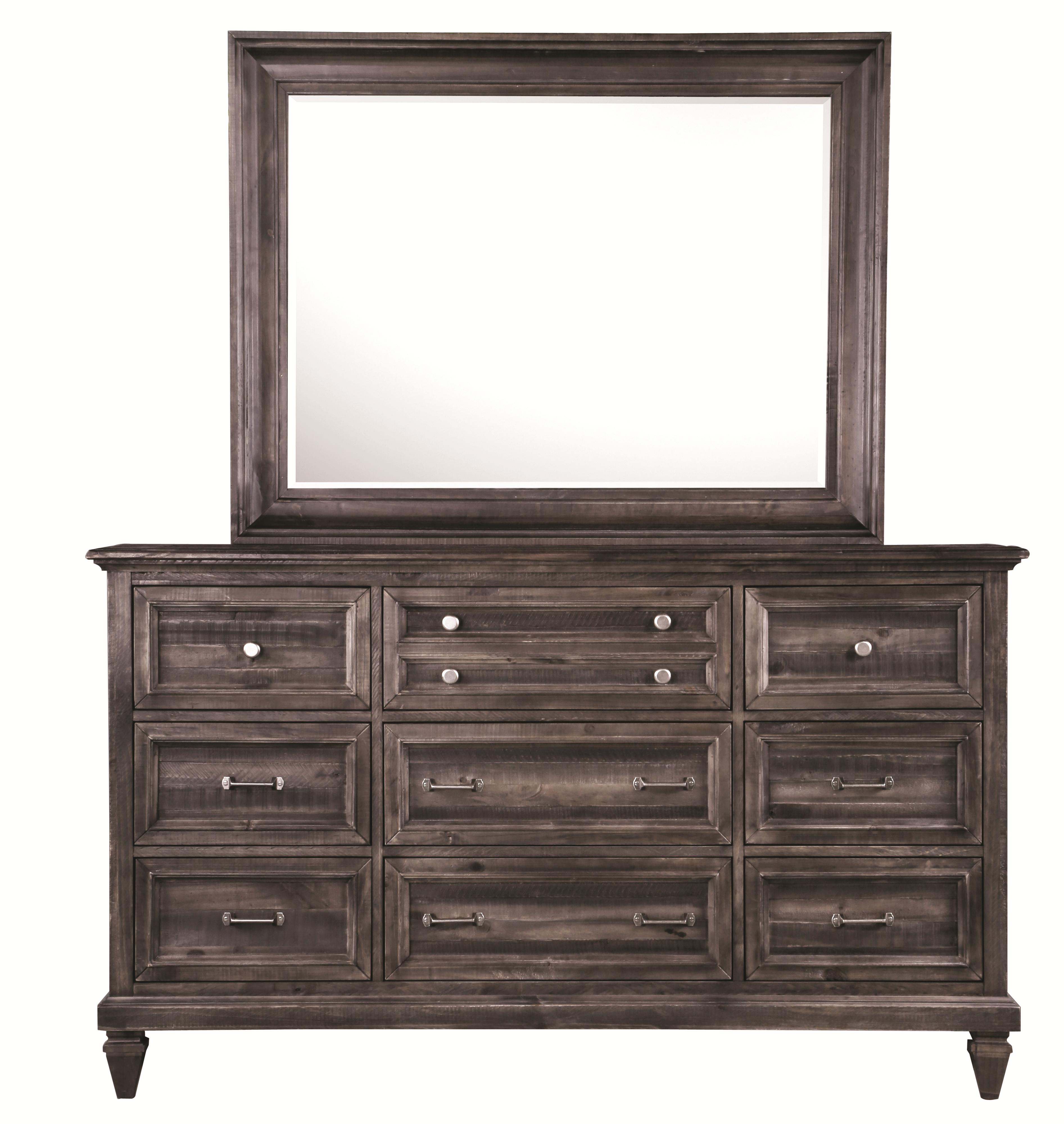9-Drawer Dresser and Landscape Mirror Combination
