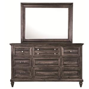 9-Drawer Dresser and Landscape Mirror Combination