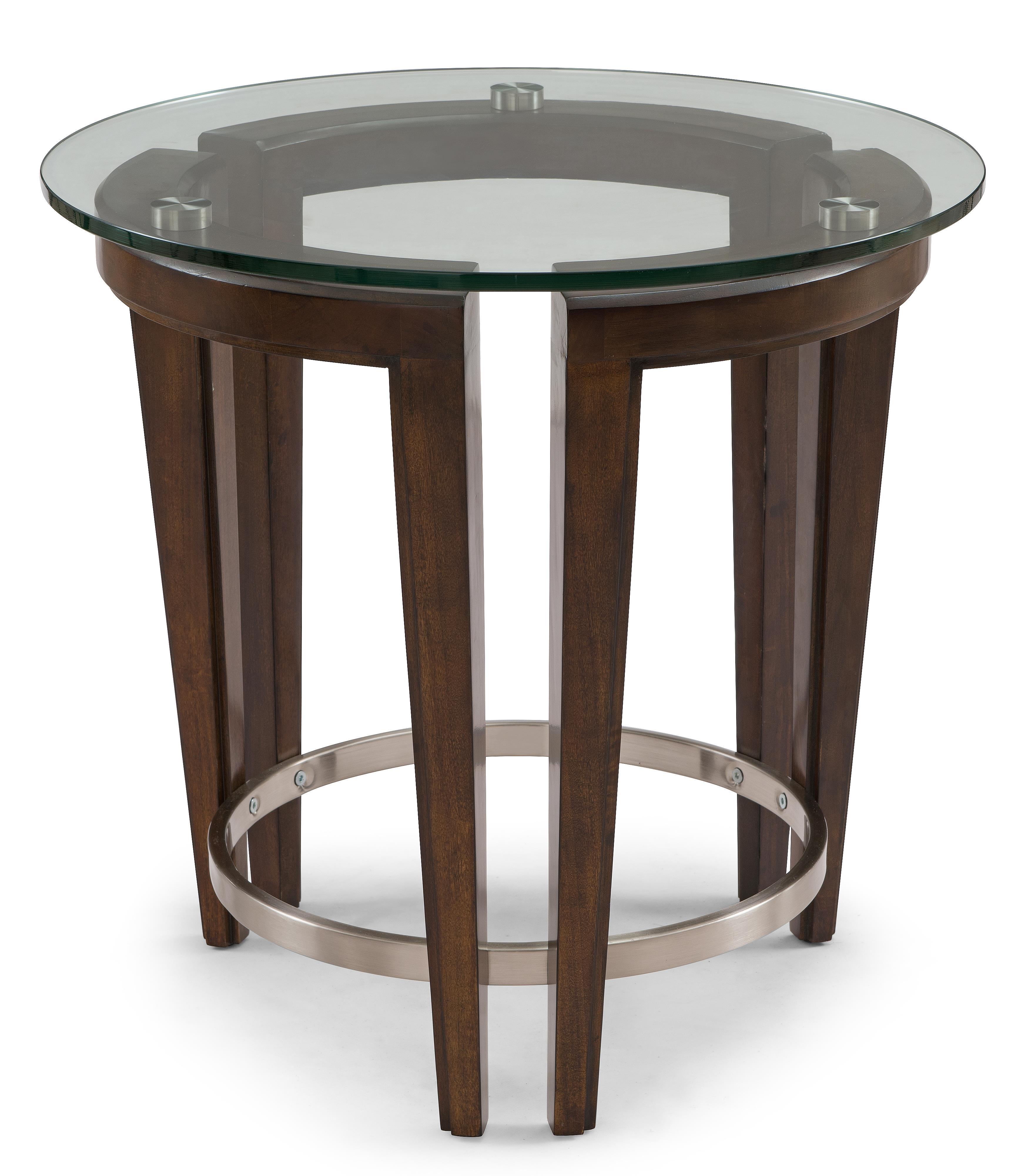Contemporary Wood and Glass Round End Table