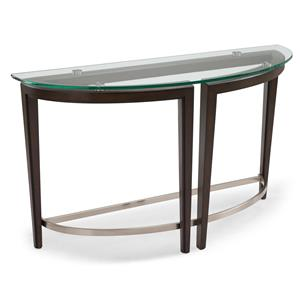 Contemporary Wood and Glass Demilune Sofa Table