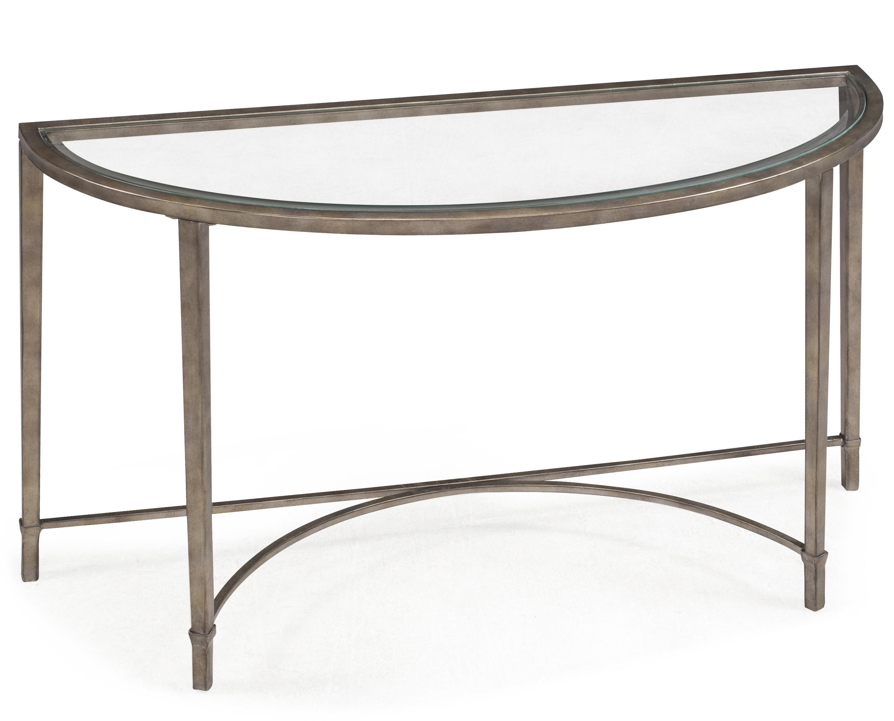 Metal And Glass Demilune Sofa Table
