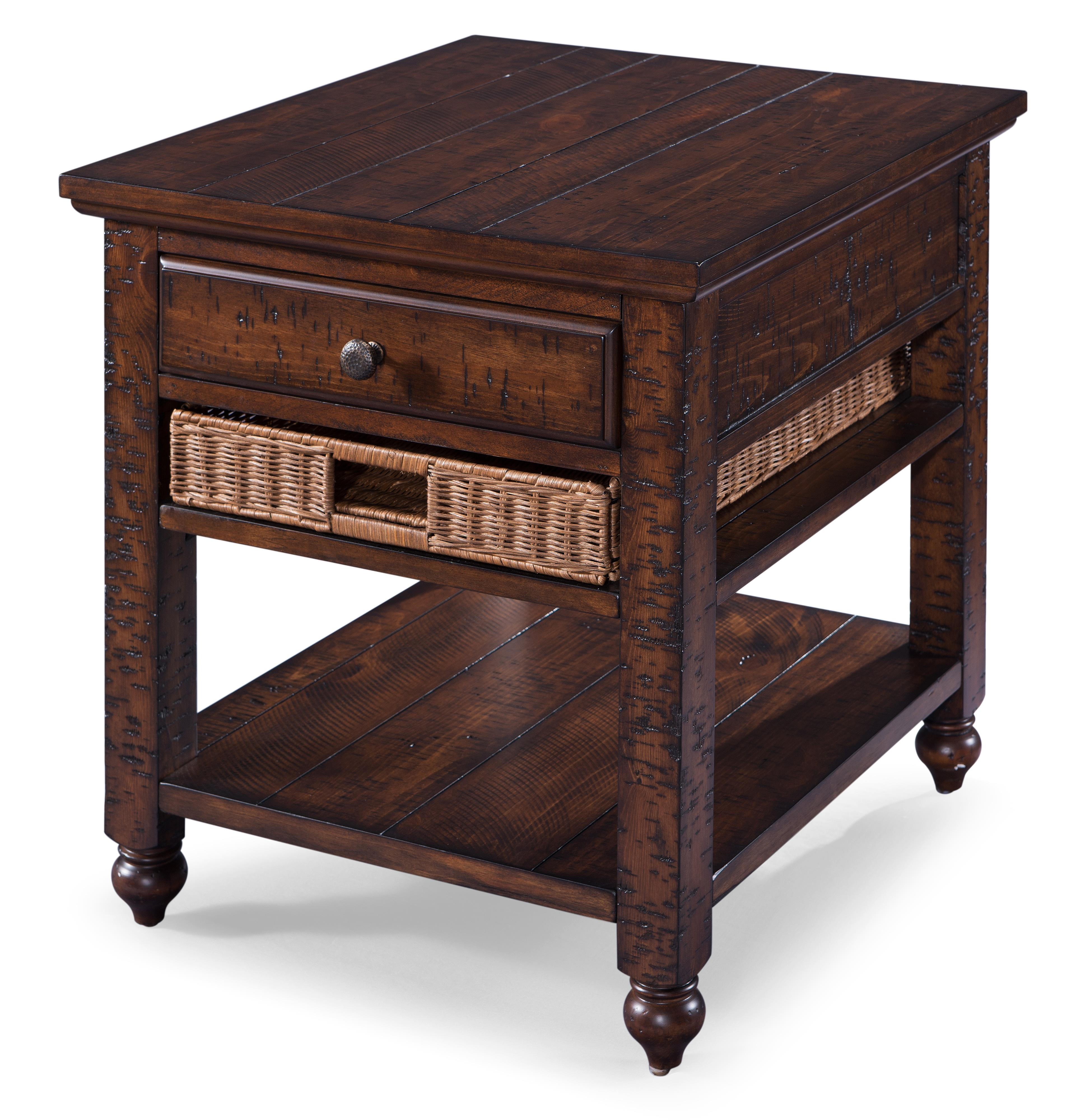 Casual Rectangular End Table with Removable Storage Basket