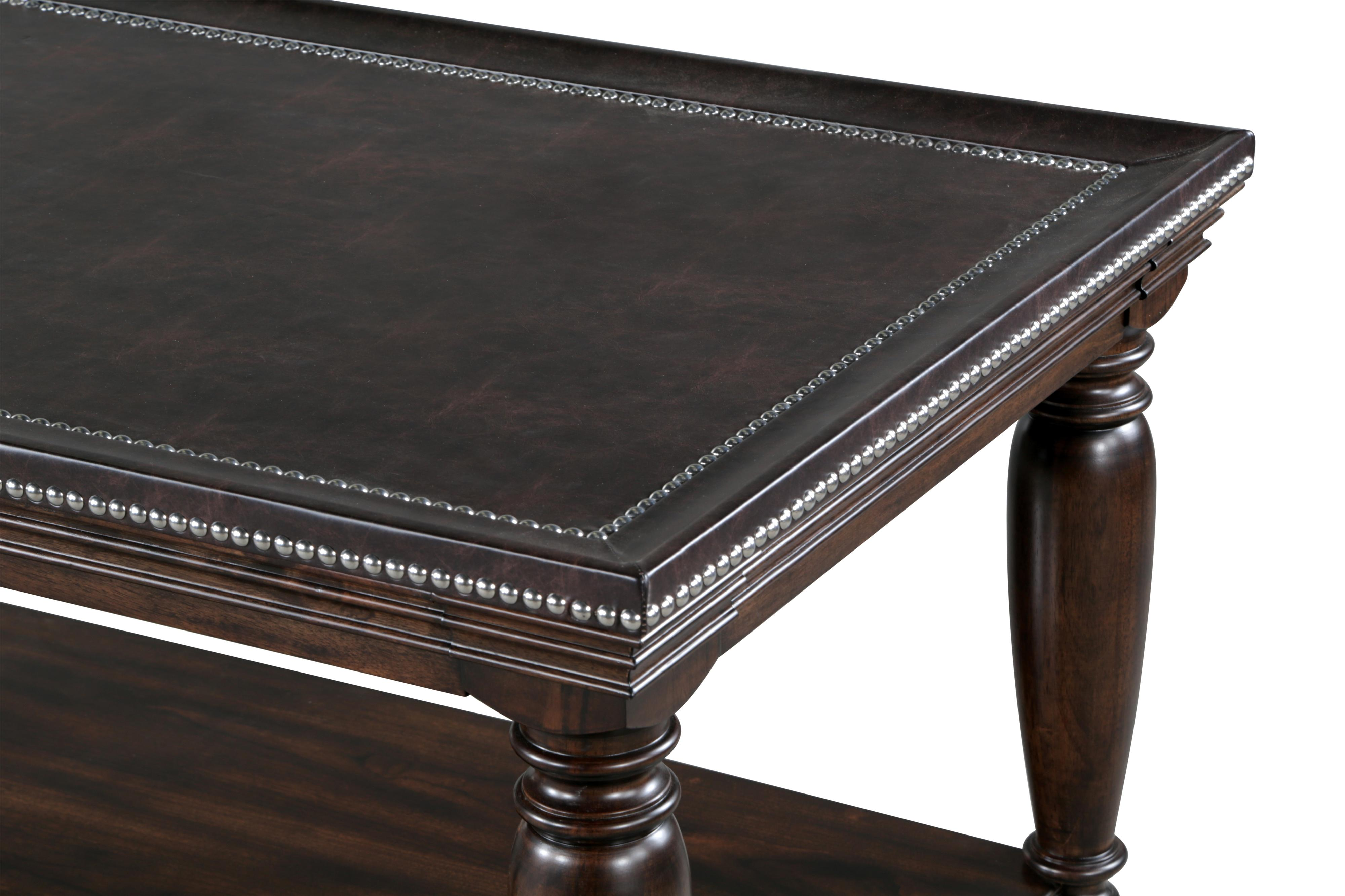 Traditional Rectangular Cocktail Table with Bonded Leather Top and