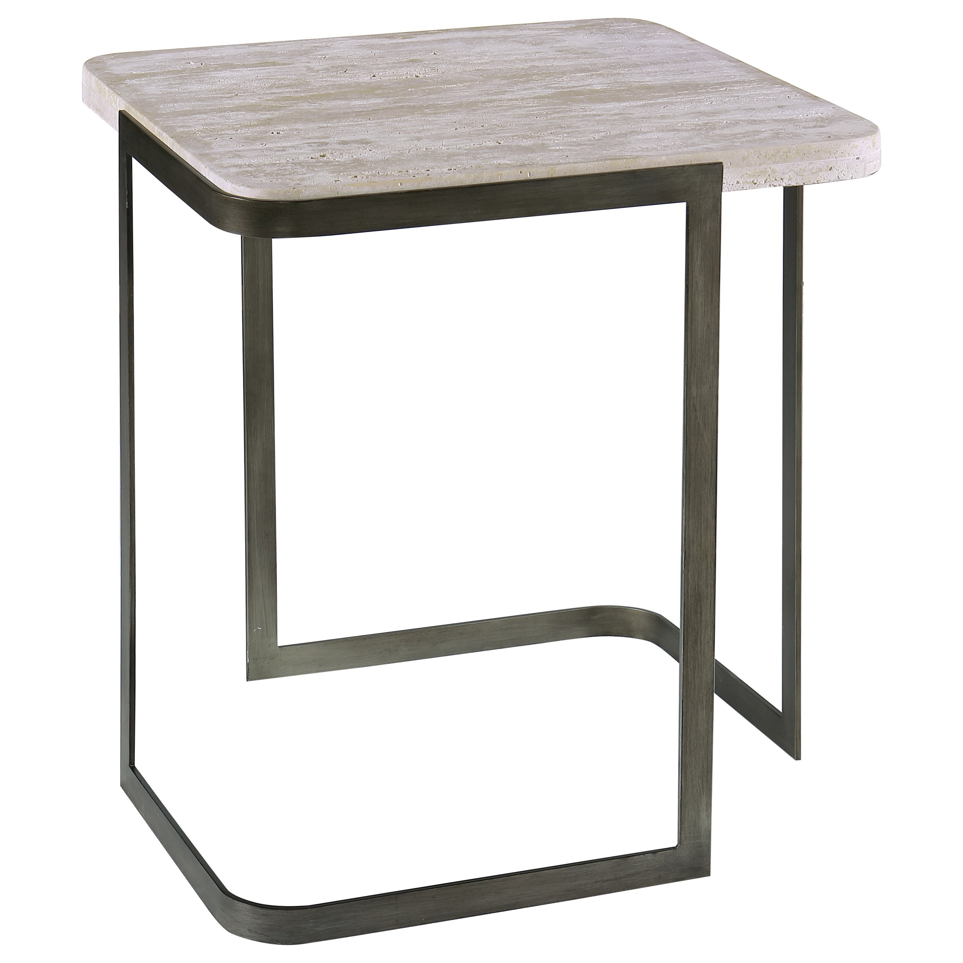 Contemporary Rectangular End Table with Metal Base