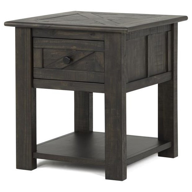 Rectangular End Table with Sliding Doors