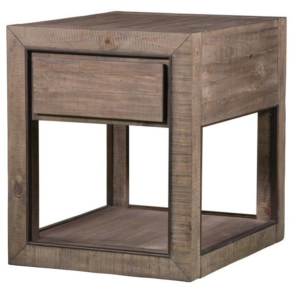 Industrial Rectangular End Table with Drawer