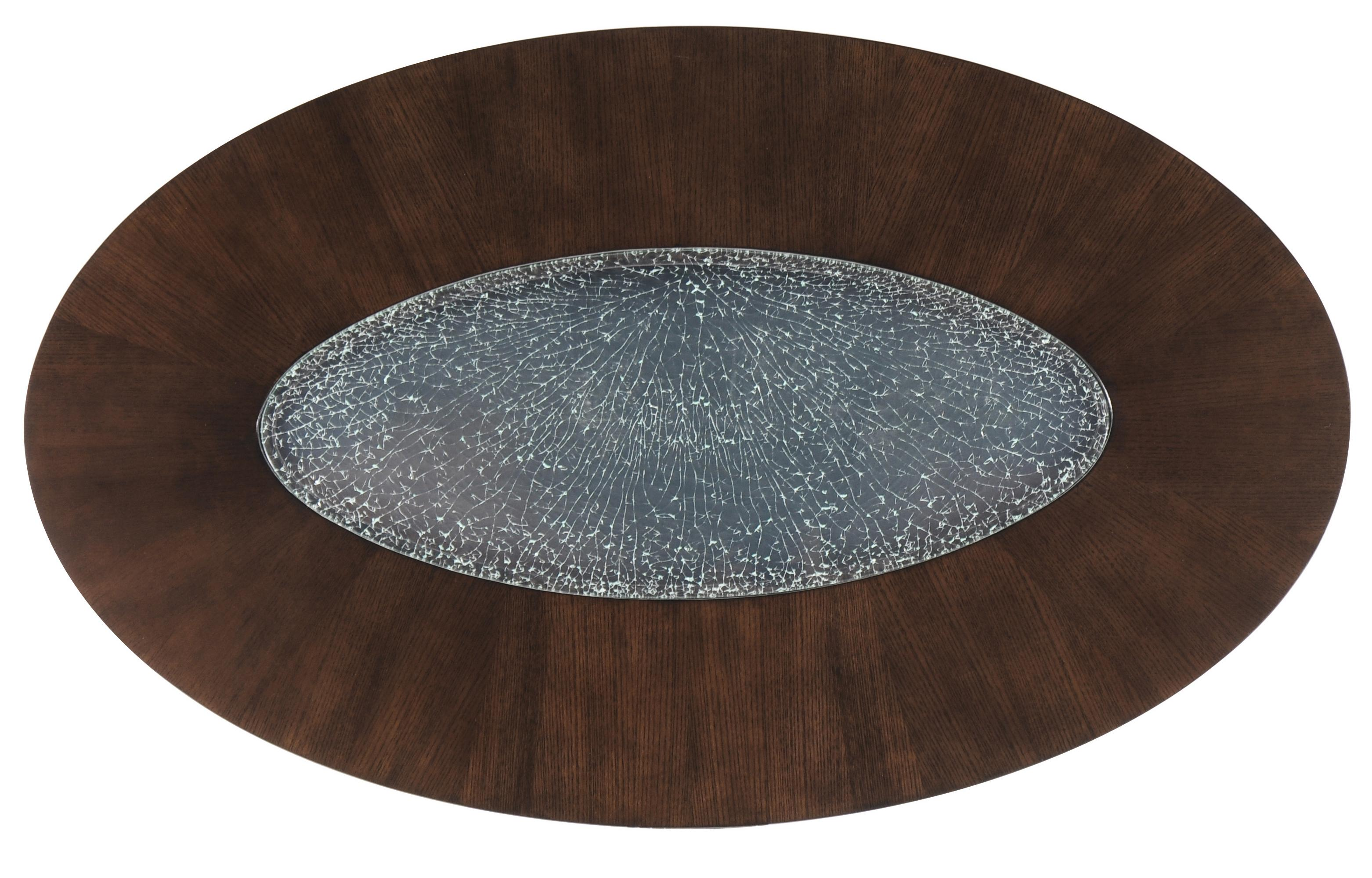 Oval Coffee Table w Glass Inset by Magnussen Home