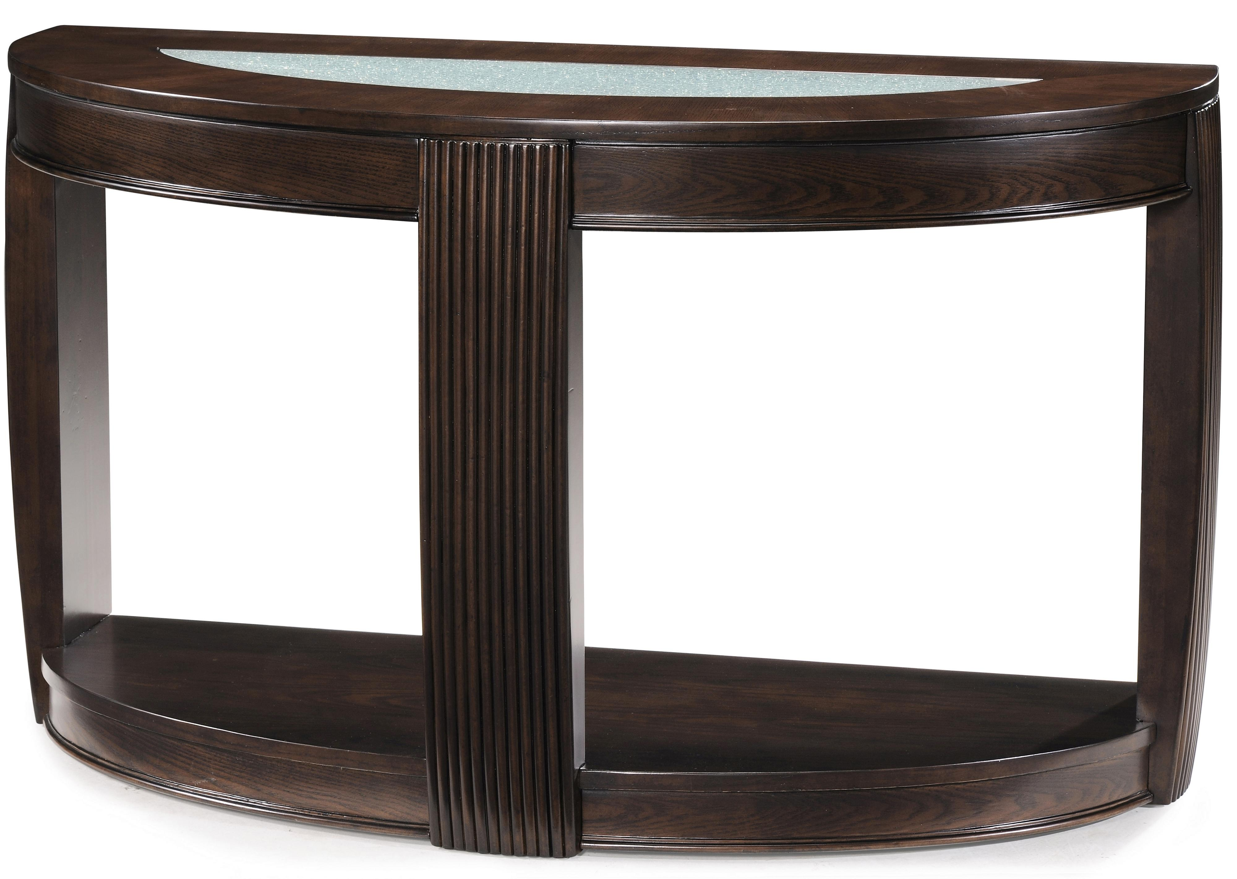 Demilune console table w glass insert by magnussen home wolf demilune console table w glass insert geotapseo Gallery