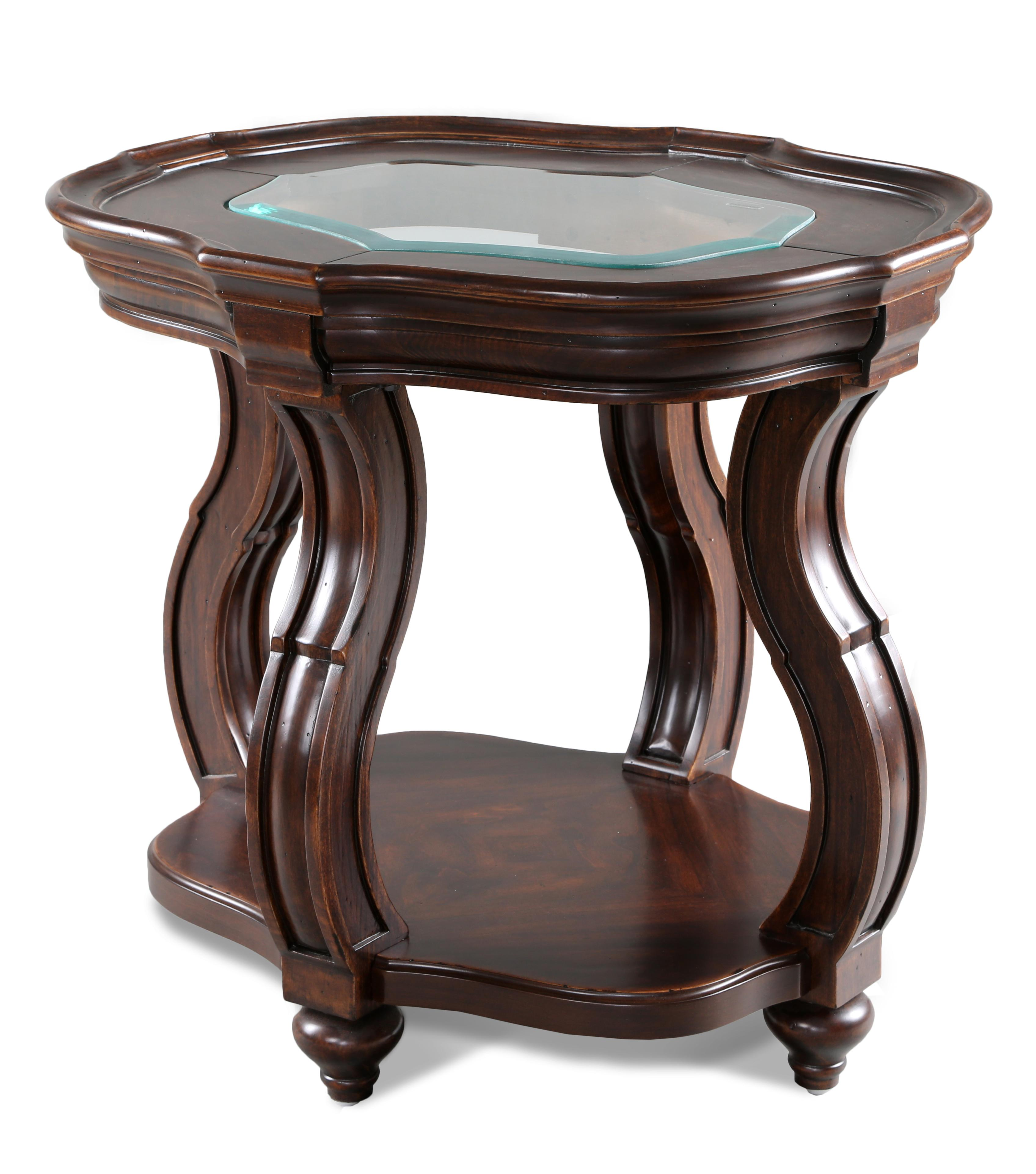 Traditional Oval End Table with Glass Top