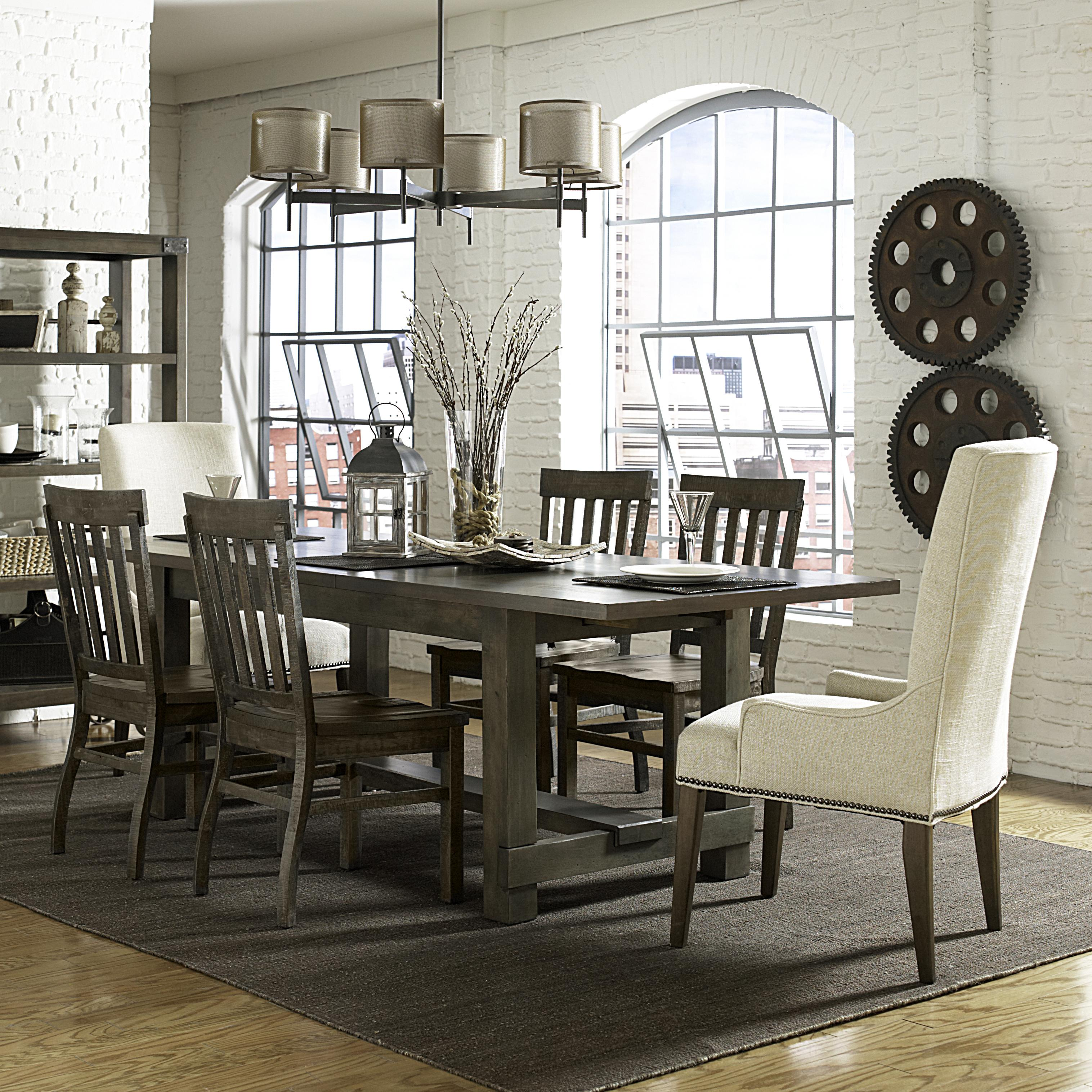 seven piece dining set with rectangular table and upholstered host chairs: seven piece dining set