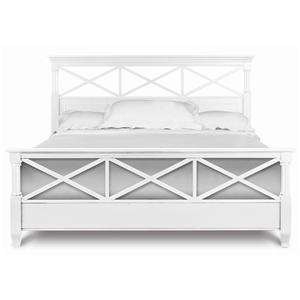 Queen Panel Bed with White Finish & Open Fretwork