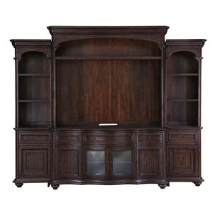 Traditional Entertainment Wall Unit with Wire Management and LED Display Lighting