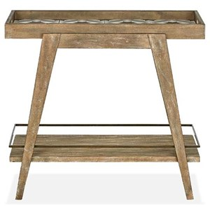 Rustic Dining Bar Cart with Decorative Tiles