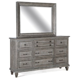 Rustic Nine Drawer Dresser with Mirror