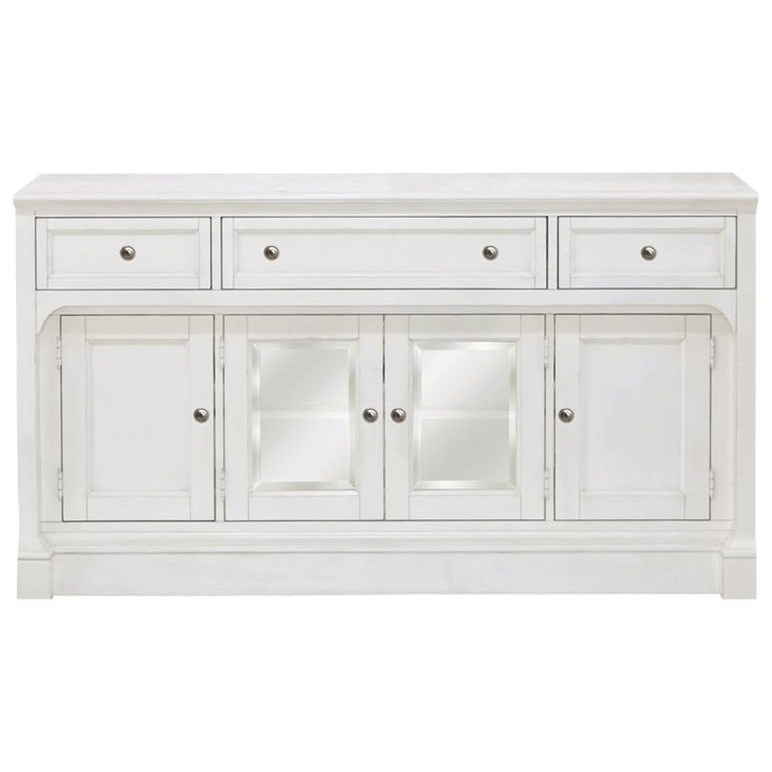 Soft White TV Console with Glass Doors