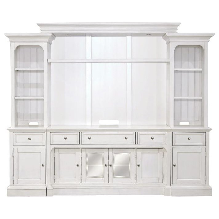 White Entertainment Wall Unit with LED Lights