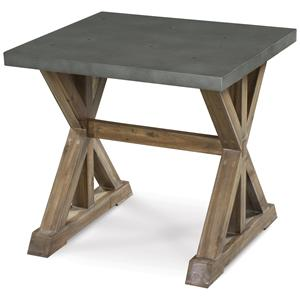 Superior Rectangular End Table With Stone Top And Wooden Trestle Base