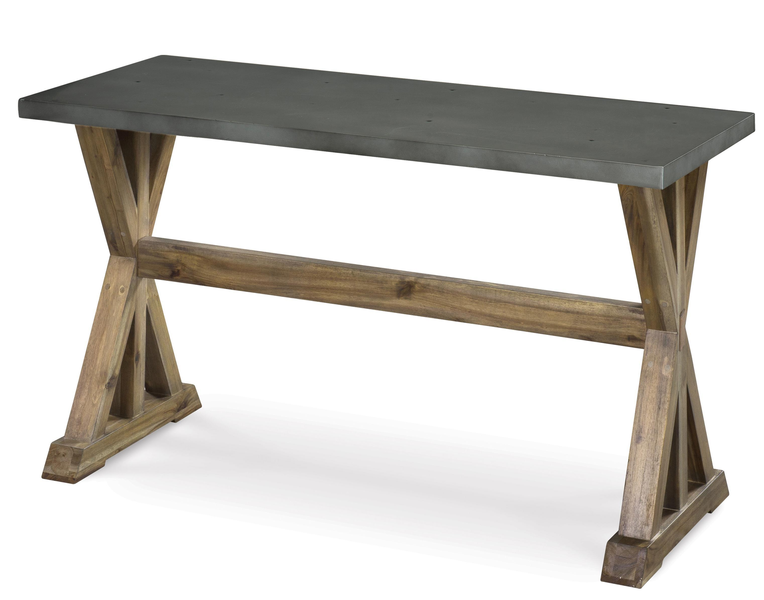 Rectangular Sofa Table with Stone Top and Wooden Trestle Base by