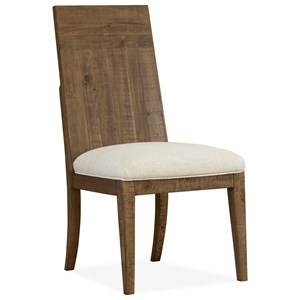 Contemporary Rustic Dining Side Chair with Upholstered Seat
