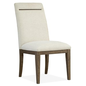 Contemporary Rustic Fully Upholstered Dining Side Chair