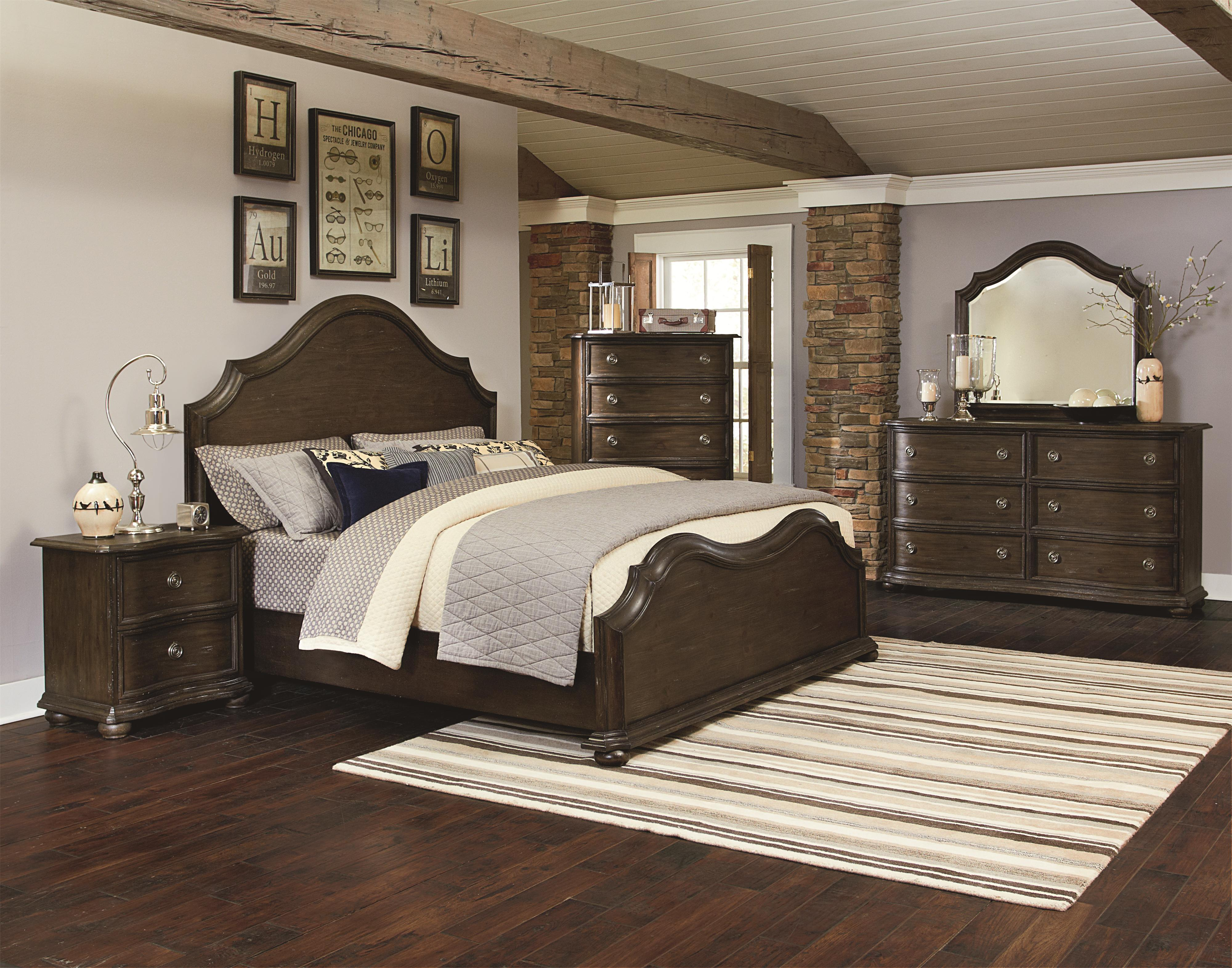 Magnussen Bedroom Furniture Traditional Queen Size Panel Bed With Serpentine Curves By