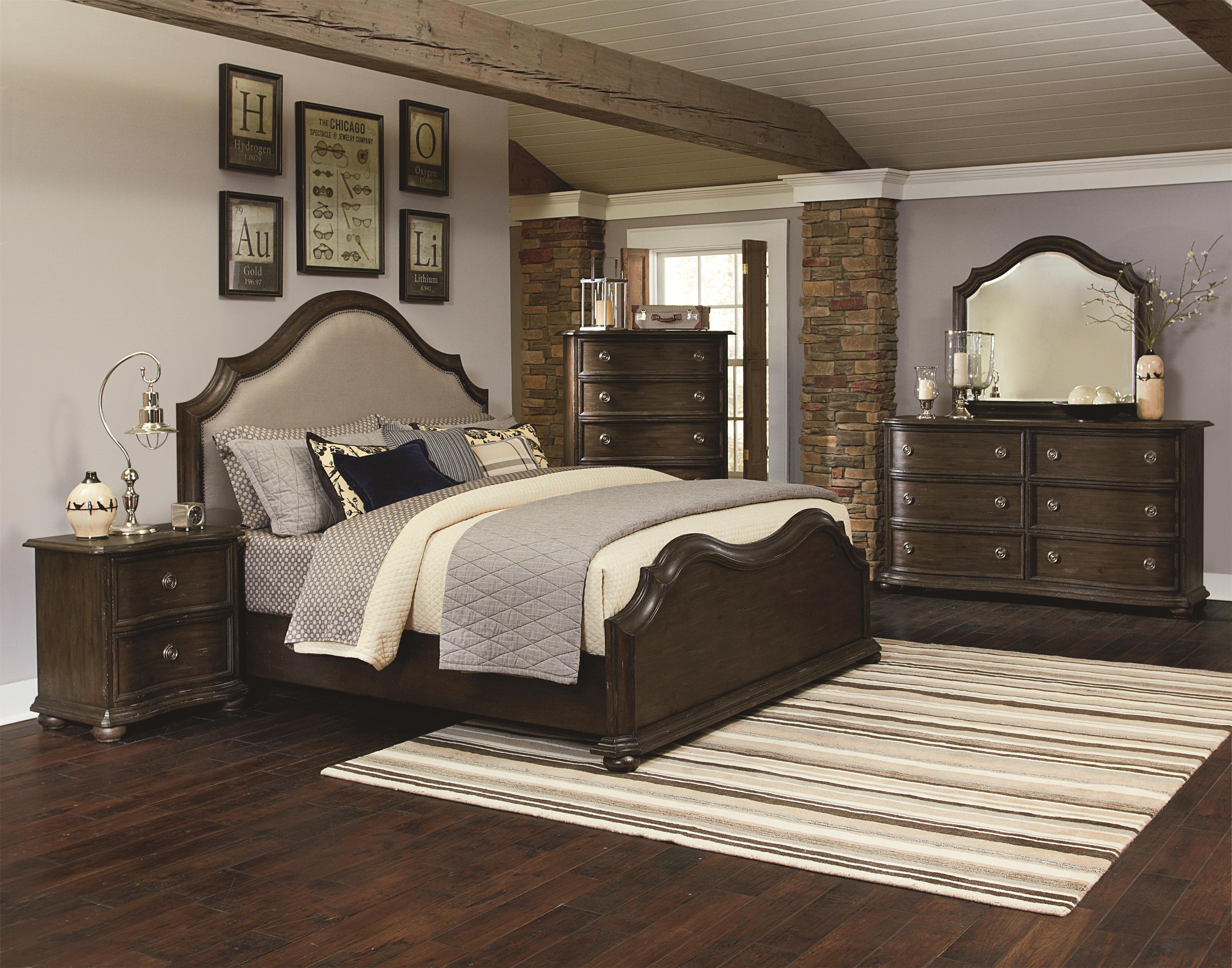 King Size Upholstered Bed with Serpentine Curves and Nailhead ...