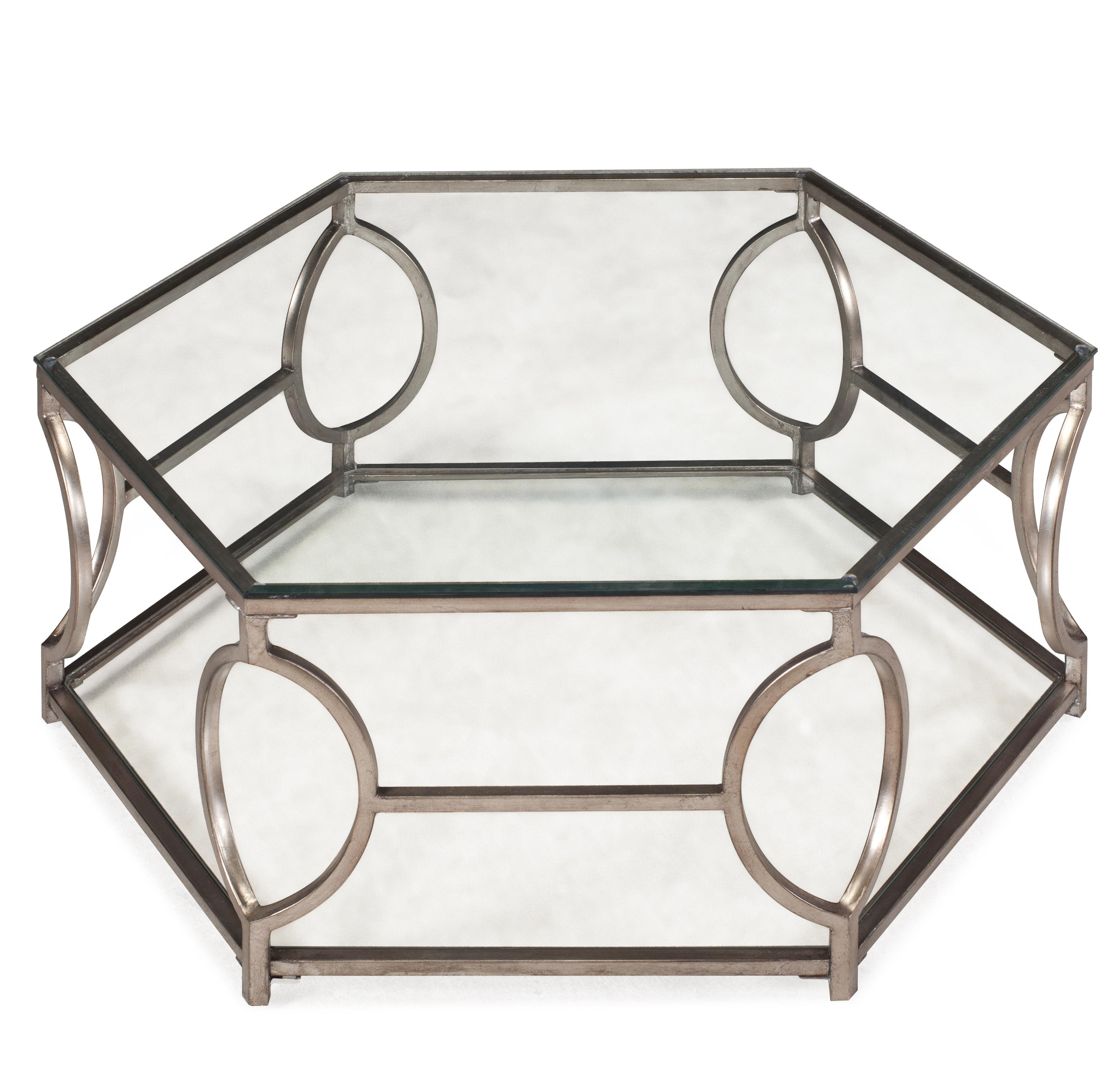 Hexagonal Cocktail Table With Glass Top And Geometric Detail