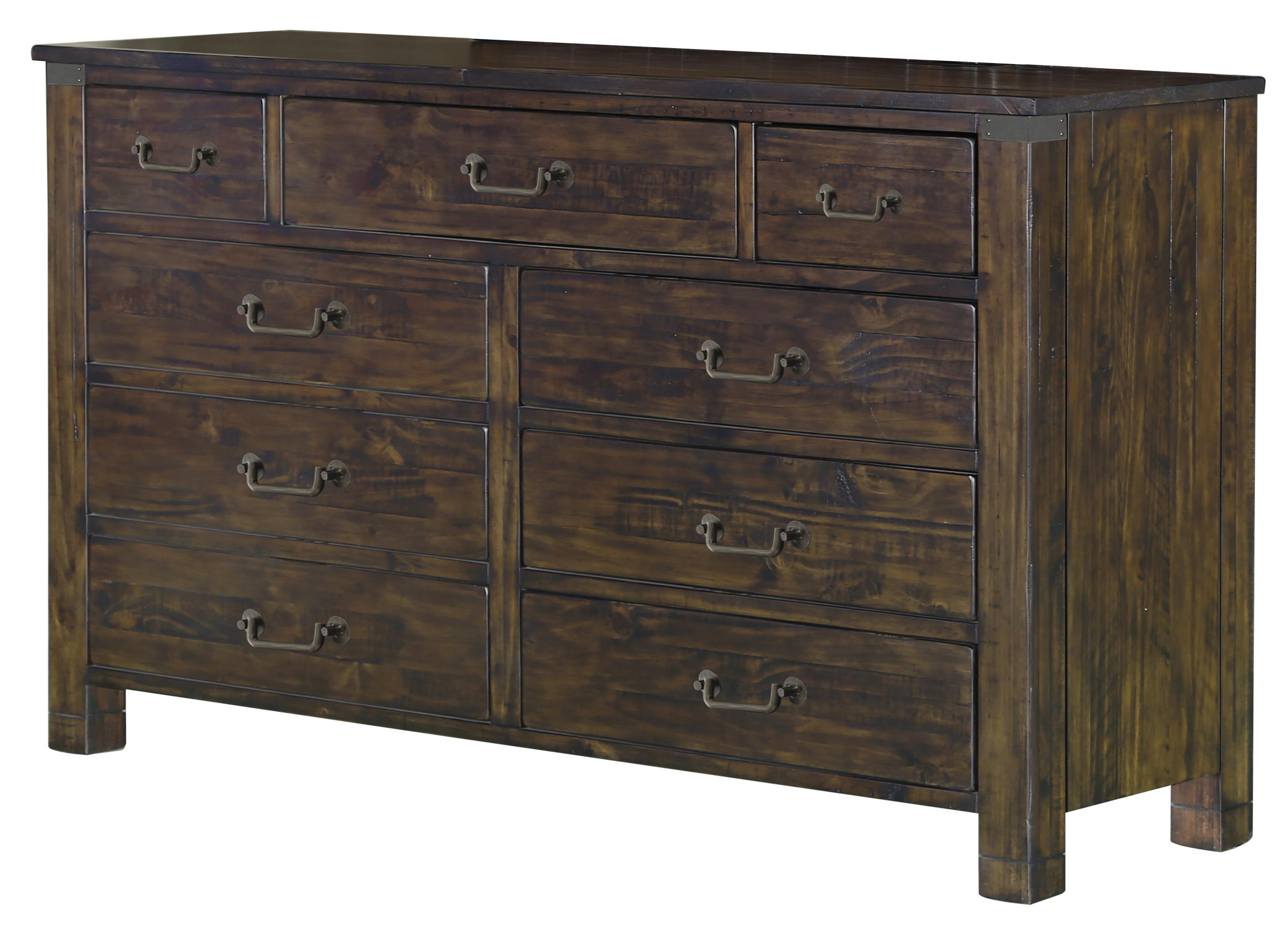 9 Drawer Dresser in Rustic Pine Finish