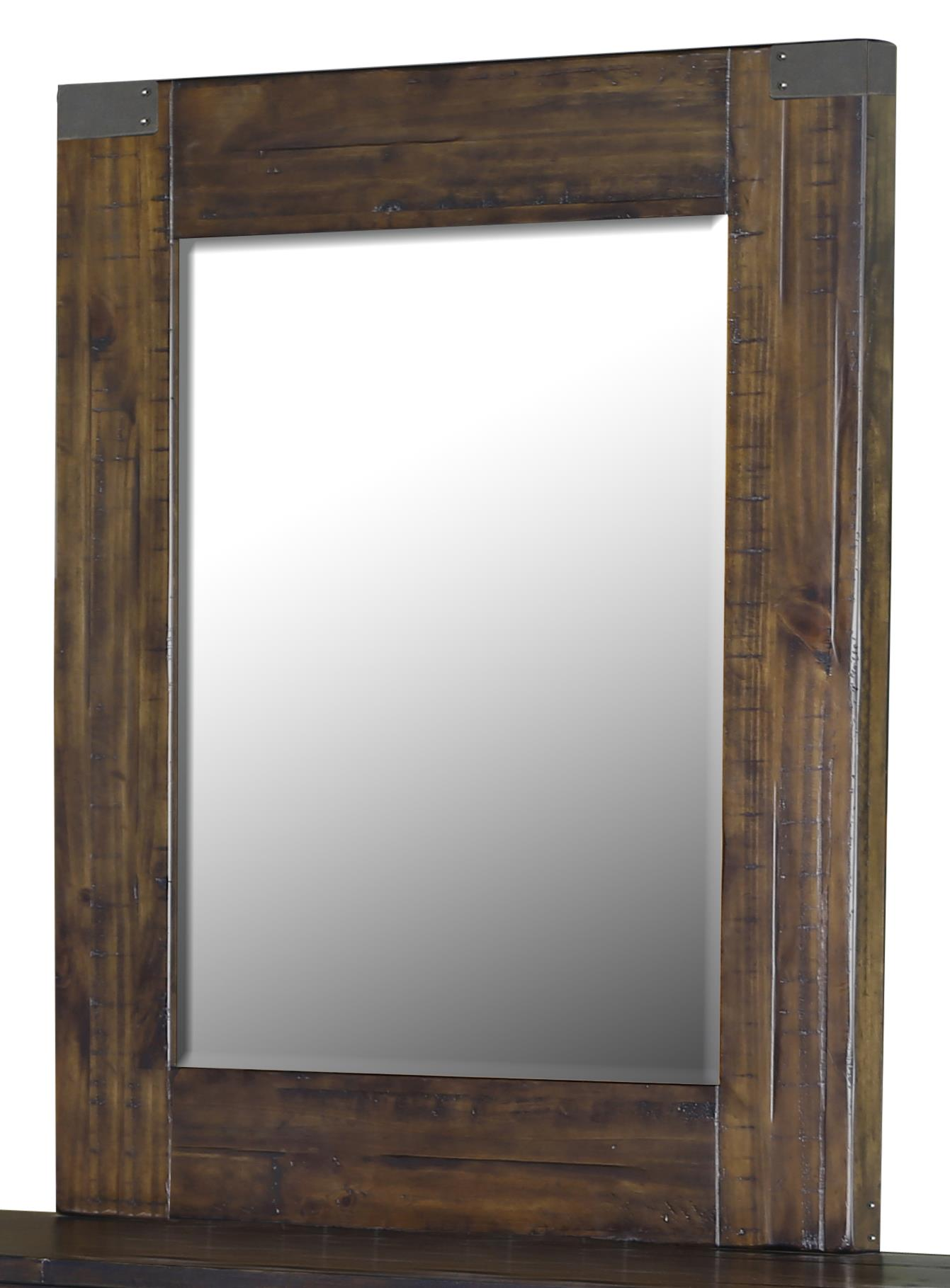 Portrait Mirror with Rustic Pine Frame
