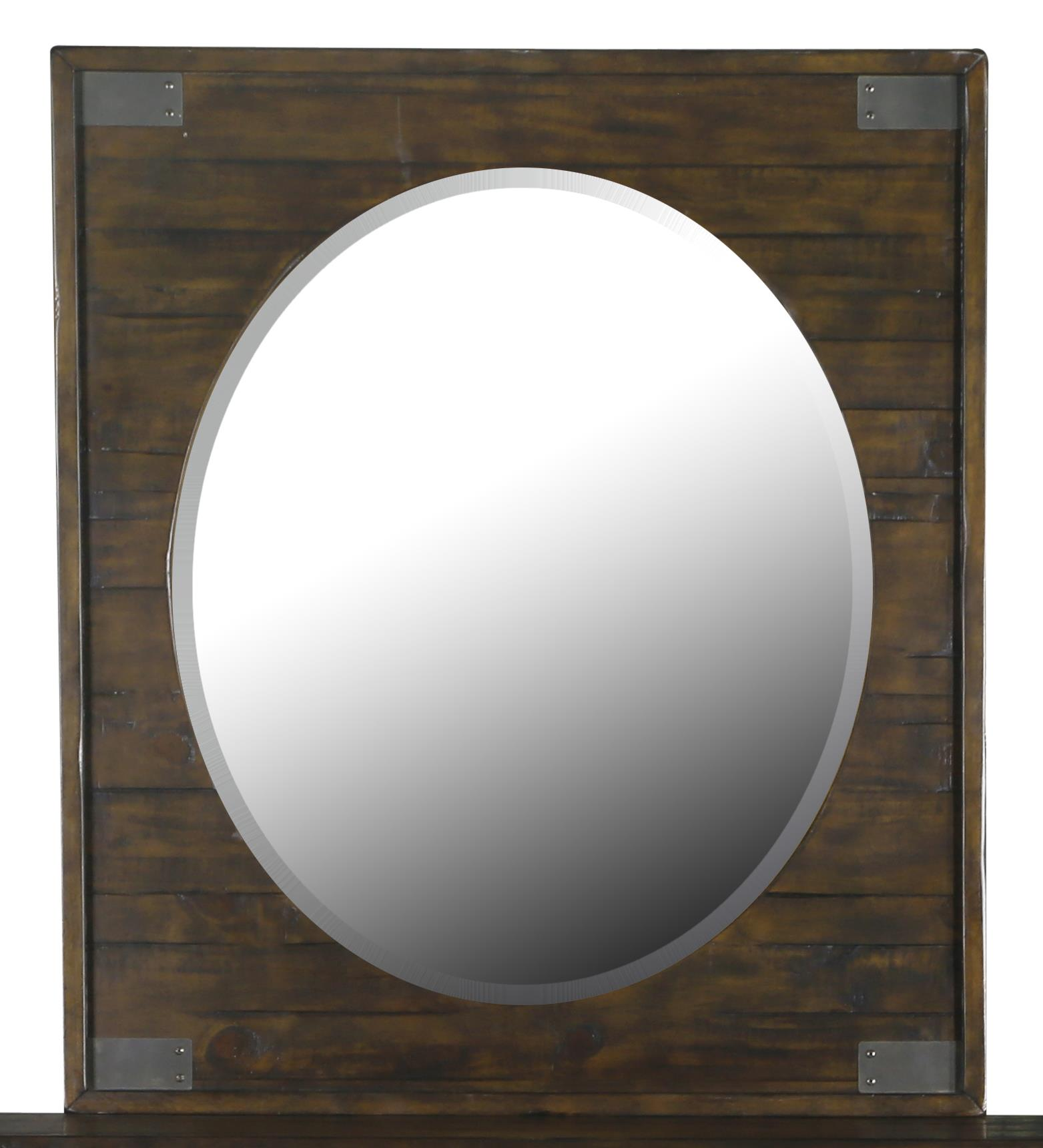 Portrait Oval Mirror with Rustic Pine Frame