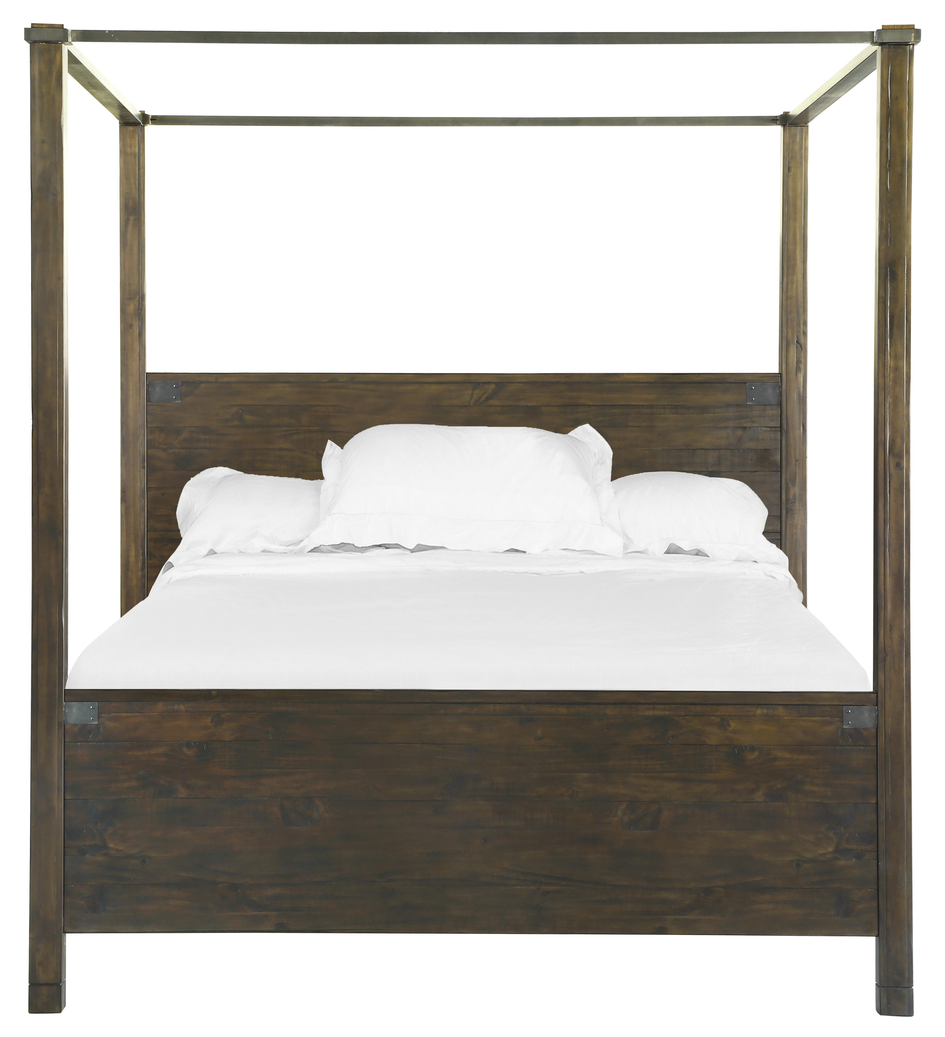 Queen Poster Bed in Rustic Pine Finish
