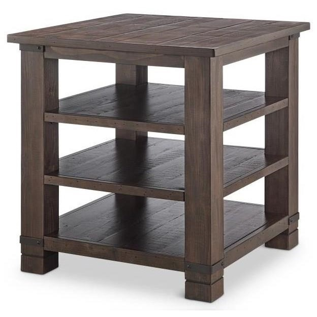 Square End Table with Three Shelves