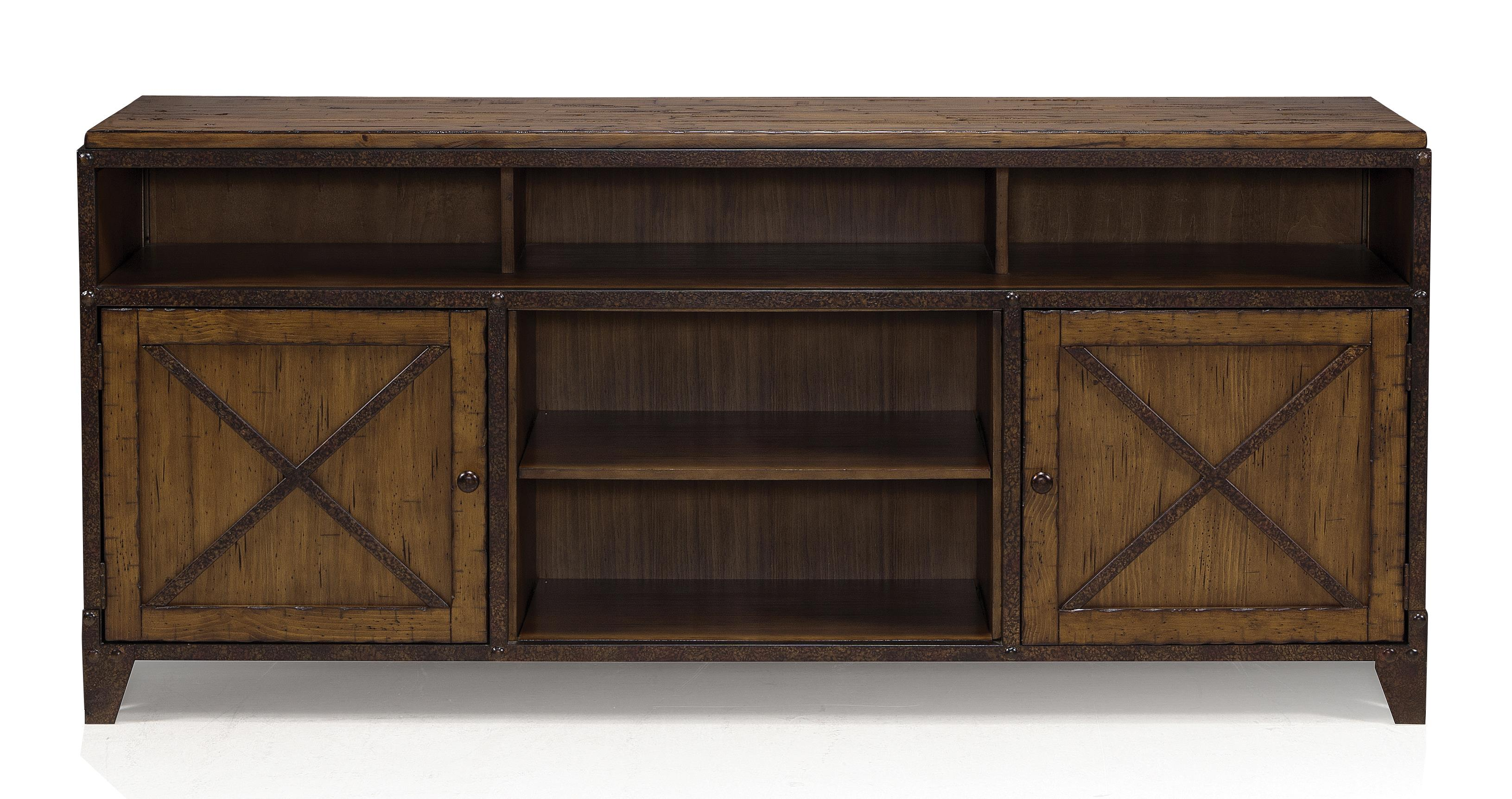 Rustic TV Console Table With Wire Management And Adjustable Shelves