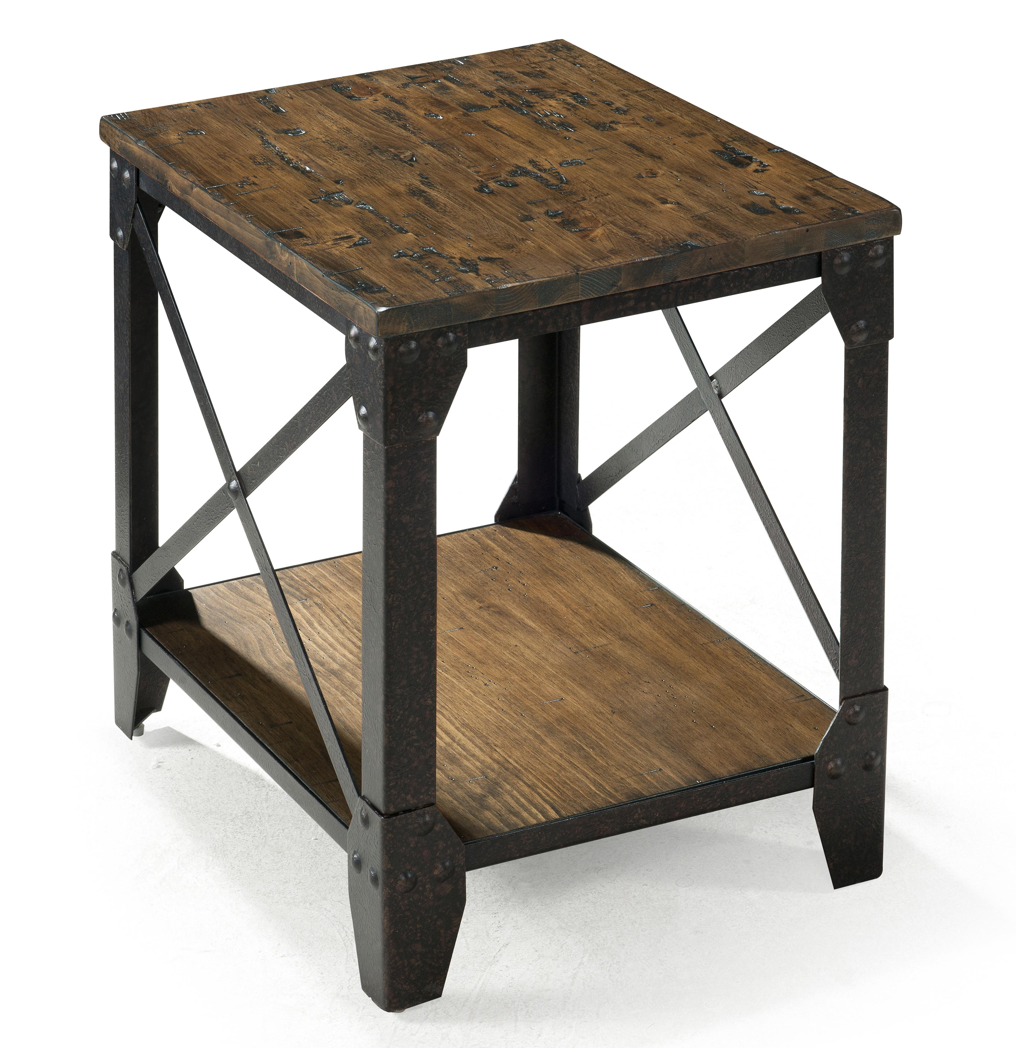 Small Rectangular End Table with Rustic Iron Legs by Magnussen
