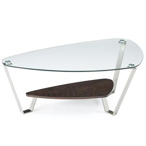 Retro Chic Shaped Cocktail Table with Tempered Glass Top