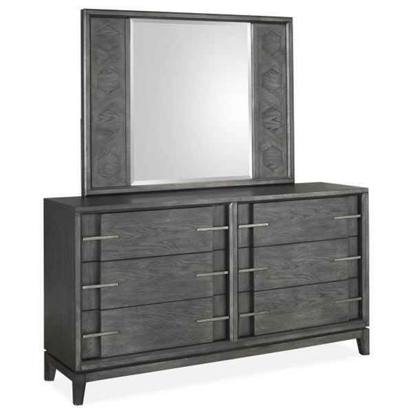 Modern Dresser and Mirror Set