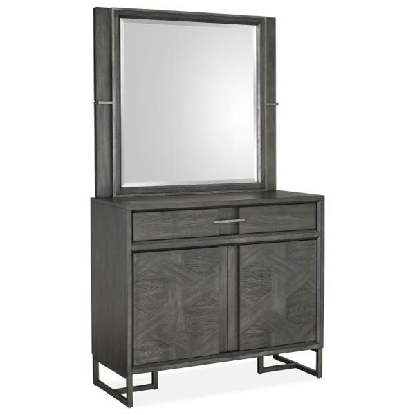 Modern Media Chest and Mirror Set