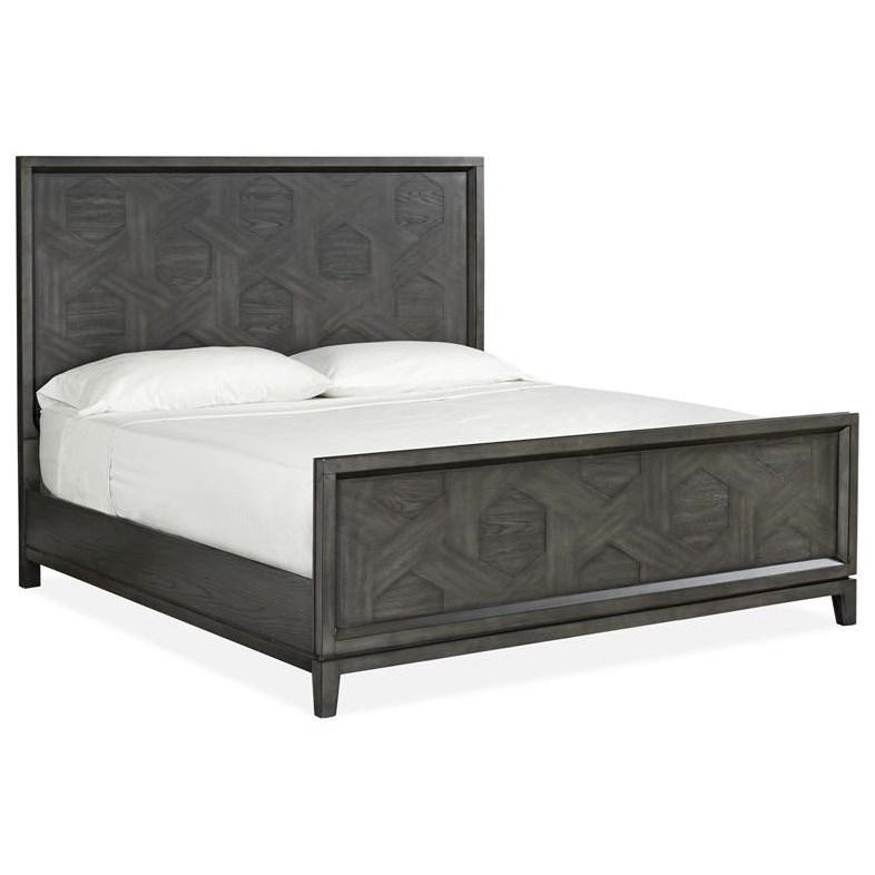 California King Bed with Woven Lattice Headboard and Footboard