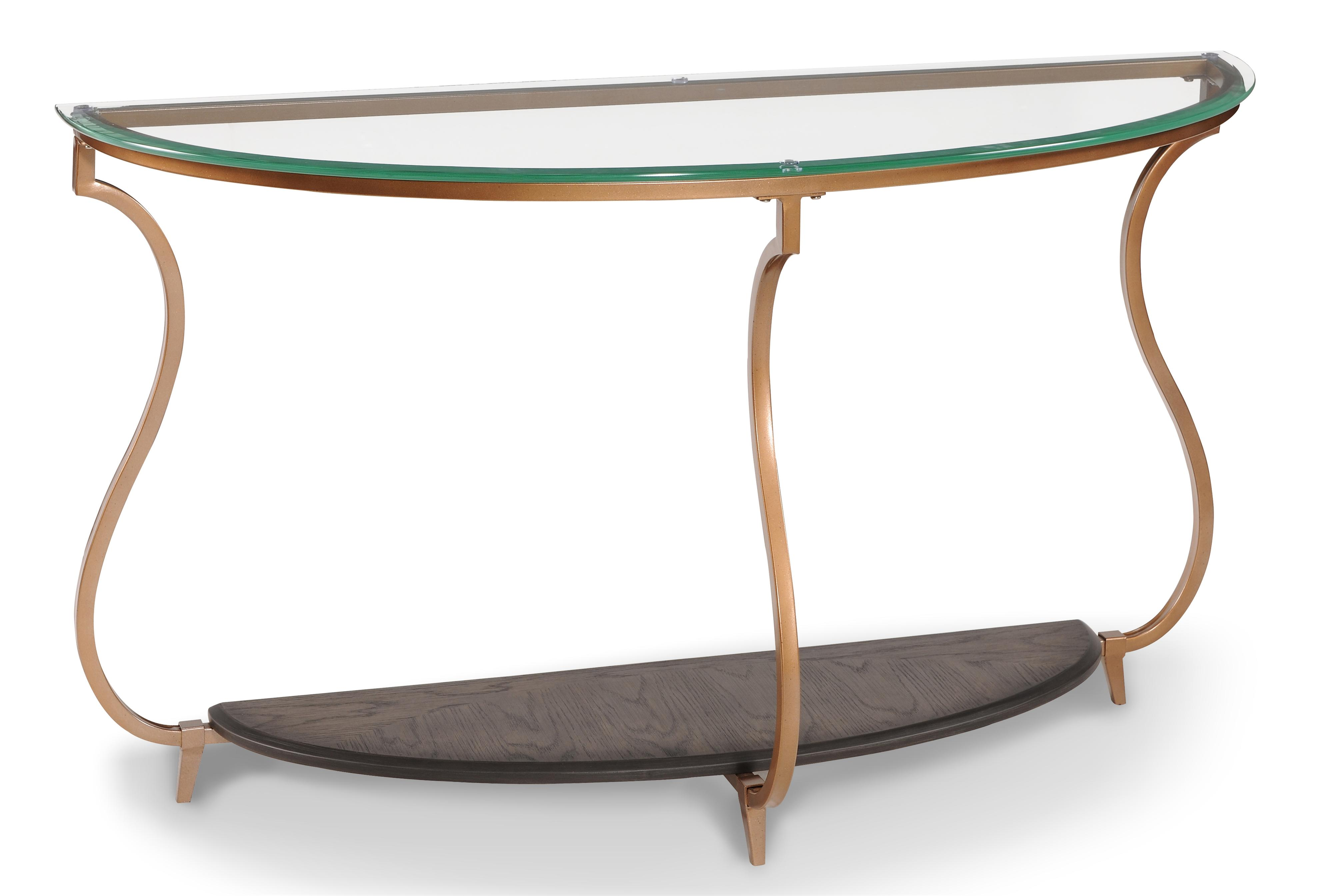 transitional demilune sofa table with gold-finished legs and glass