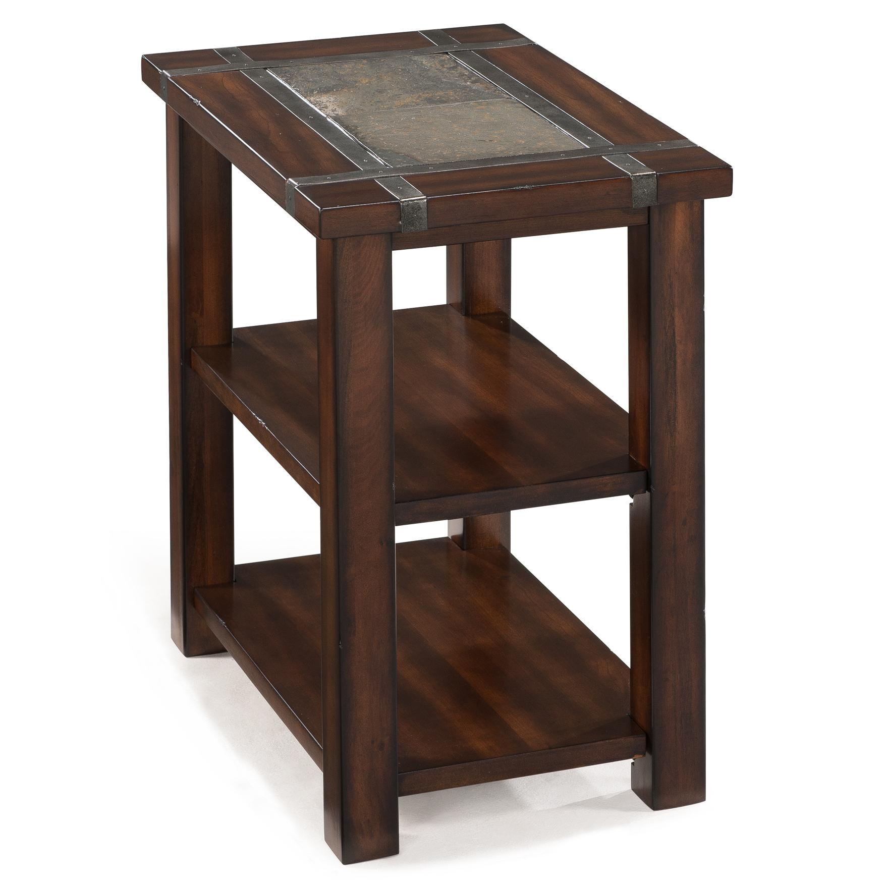 Rectangular Chairside End Table with 2 Shelves