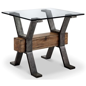 Industrial End Table with Reclaimed Wood Stretcher