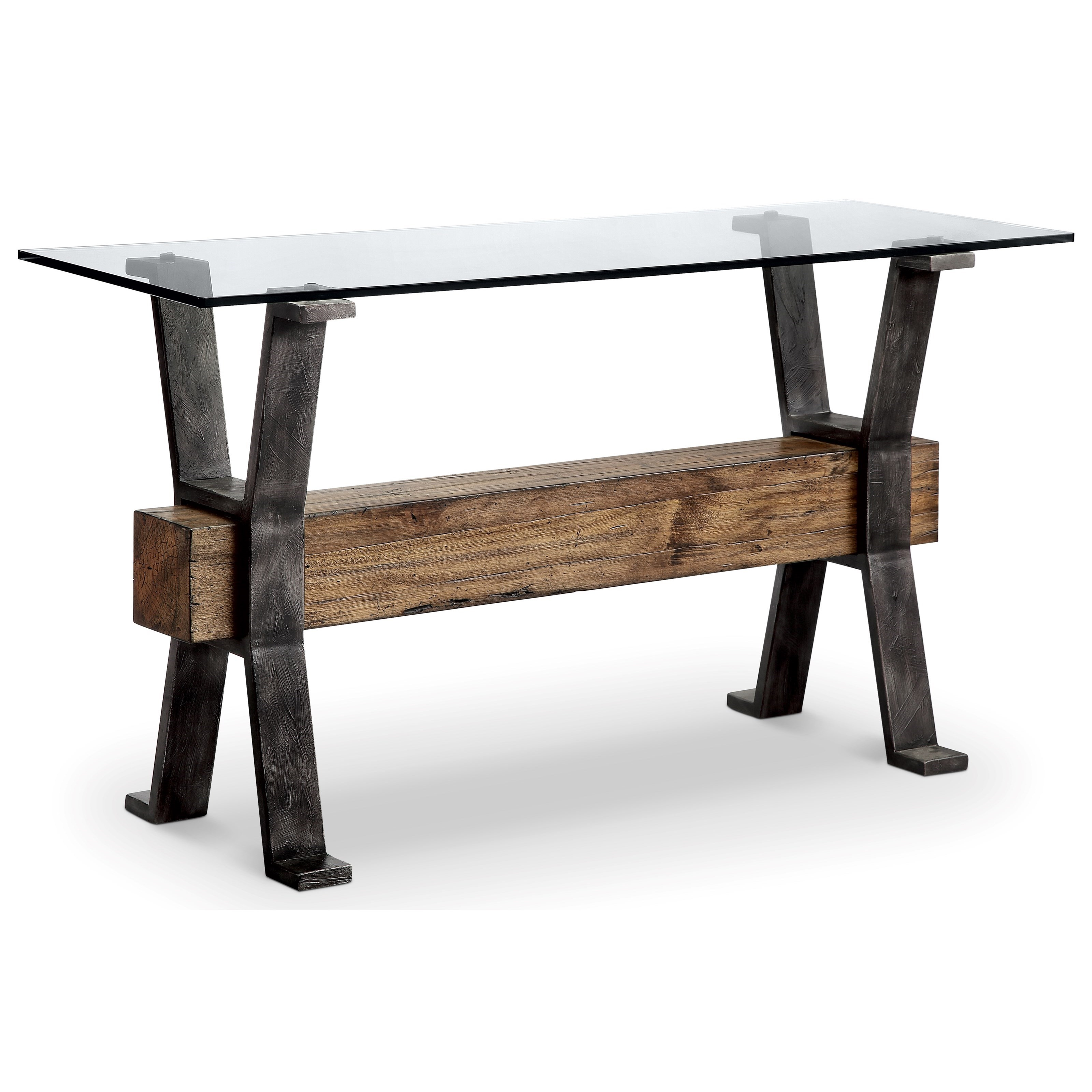 Industrial Sofa Table with Reclaimed Wood Stretcher