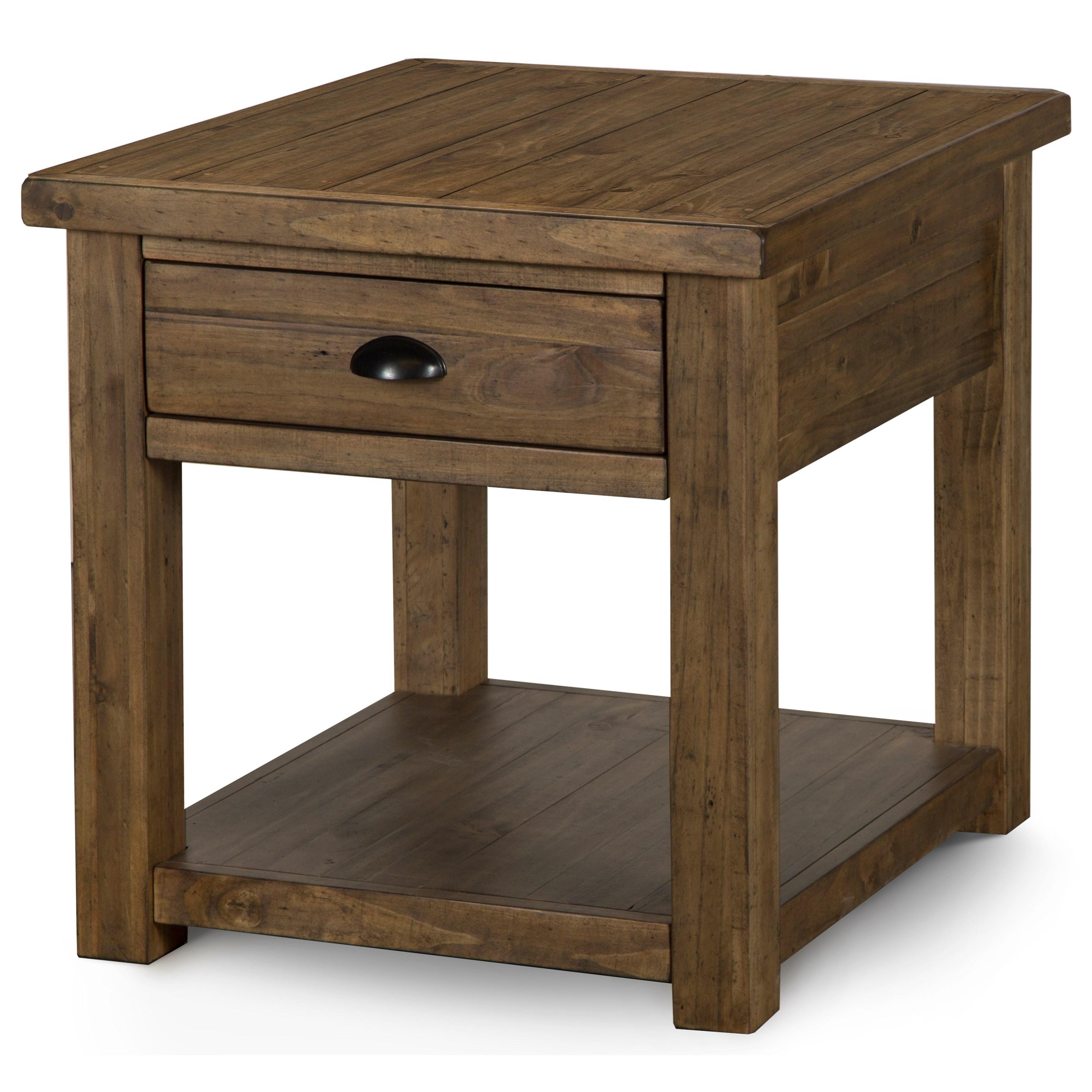 1 Drawer Rectangular End Table in Warm Nutmeg