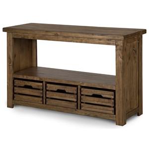 Rectangular Sofa Table with 3 Wood Storage Baskets